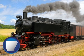 a railroad steam engine - with Arkansas icon