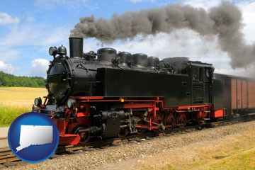a railroad steam engine - with Connecticut icon