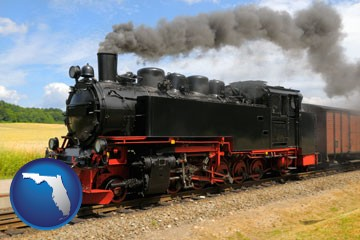 a railroad steam engine - with Florida icon