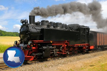 a railroad steam engine - with Louisiana icon