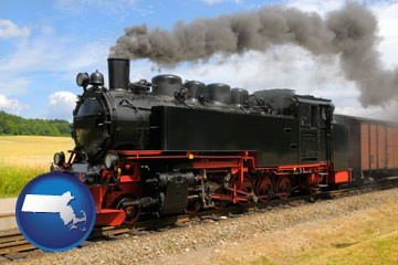 a railroad steam engine - with Massachusetts icon