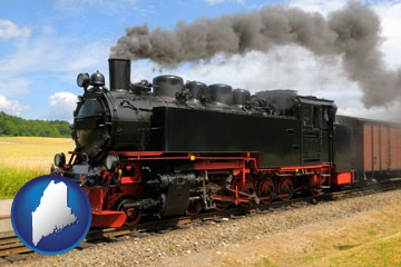 a railroad steam engine - with Maine icon