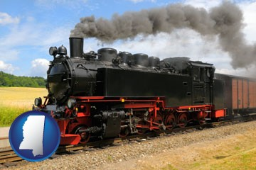 a railroad steam engine - with Mississippi icon