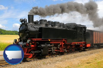 a railroad steam engine - with Montana icon