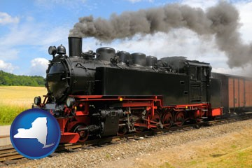 a railroad steam engine - with New York icon