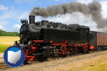 a railroad steam engine - with Ohio icon