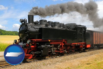 a railroad steam engine - with Tennessee icon