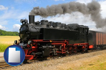a railroad steam engine - with Utah icon