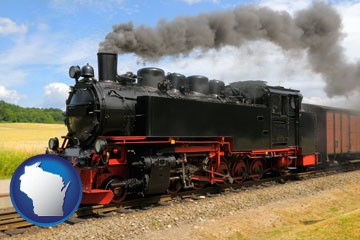 a railroad steam engine - with Wisconsin icon